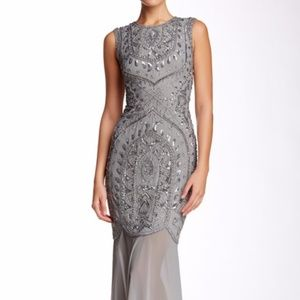 JS Collections Bead & Sequin Sleeveless Gown