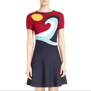 RED Valentino waves & sun sweater dress