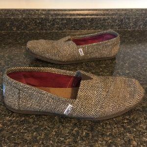 TOMS Metallic Herringbone Woolen Slip Ons