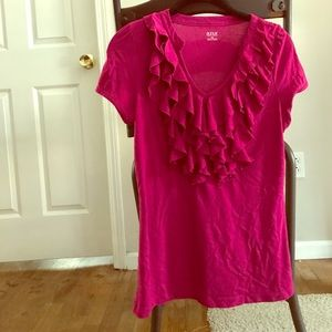 Magenta Ruffled Blouse