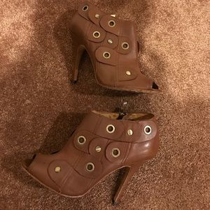 L.A.M.B. Brown rivet leather peep toe ankle boots