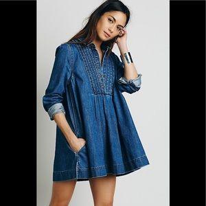 Free People Indigo Split Neck Bib Tunic/Dress