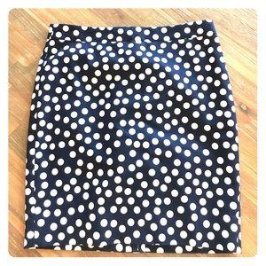 New J. Crew navy/white polka dot skirt