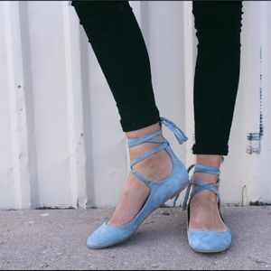 Steve Madden Baby Blue Suede Lace Up Flats