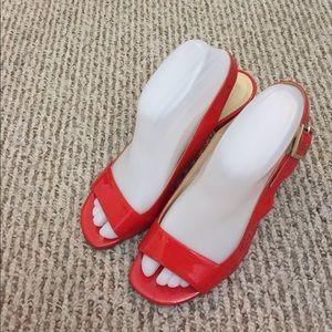 EUC Kate Spade♠️Orange Red Block Heel Sandals81/2B