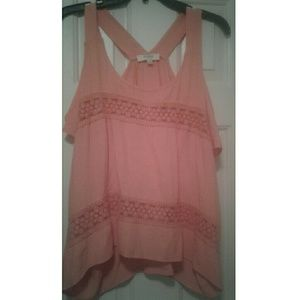Umgee large pink cold shoulder lace shirt top new