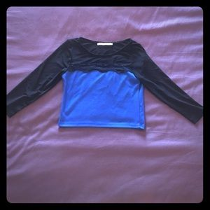 Mesh sleeved blue crop top