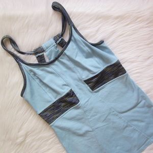 Athleta blue striped built-in sports bra tank top