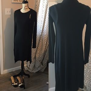 Black form fitting dress with Long sweater