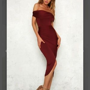 Made of Lightning Midi Dress Burgundy - HelloMolly