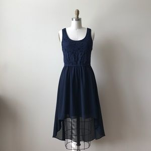 Forever 21 navy + lace, high-low dress
