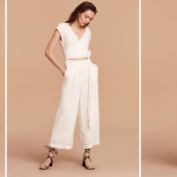 8efce849c9 NWT! Aritzia Wilfred Brax Jumpsuit White Sz 4