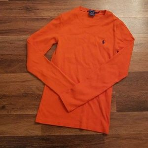 Orange Polo Long Sleeve Tee ((M)