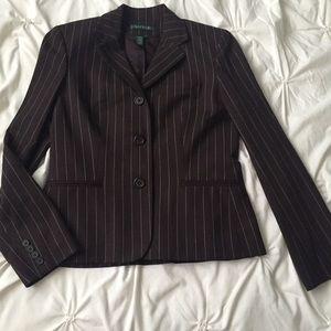 Ralph Lauren Brown Pinstripe Wool Blend Blazer