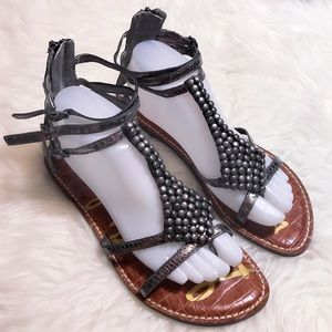 Sam Edelman Pewter Ginger Beaded Gladiator Sandals