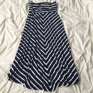GAP Navy & White Stripe Chevron Maxi Skirt