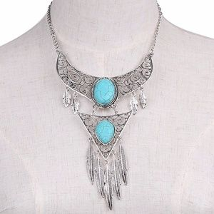 Jewelry - Boho Silver & Turquoise Tassel Statement Necklace