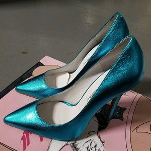 Jeffrey Campbell Teal darling pointed heels
