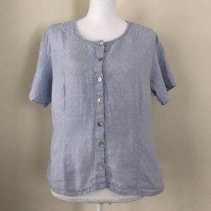 [FLAX] blue short sleeve linen button down shirt