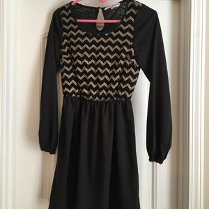 Altard'd State Black Chevron Dress