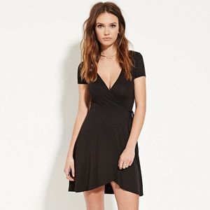 Self tie wrap surplice dress