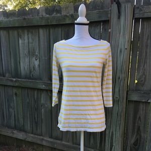 Ann Taylor Loft Yellow Striped 3/4 Sleeve Top