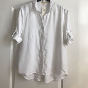 Classic White Cloth and Stone Button Up