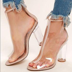 Wild diva open toe clear heels size 10