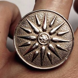 Jewelry - Huge Coin Sun Sterilng Silver Statement Ring Sz 6