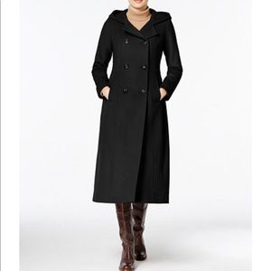 Anne Klein wool double-breasted pea coat long 10