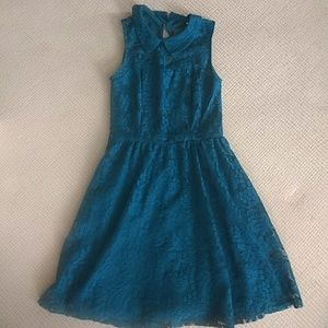 Lace blue-green dress with peter pan collar