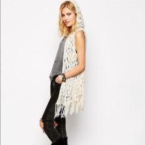 Free People Weave Away Hooded Crochet Vest NWOT