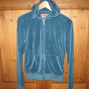 Juicy Couture Teal Green Hoodie Jacket Size Large