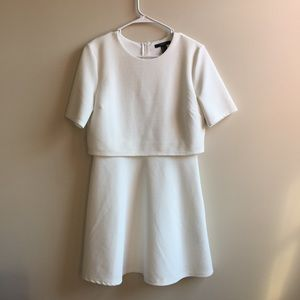 Texture white Forever 21 dress with sleeves