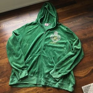 JUICY COUTURE Classic Velour Hoodie Green