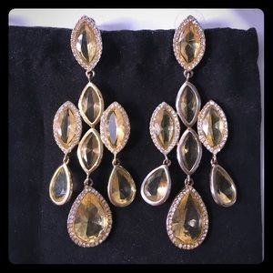 BCBG Swarovski Crystal Chandelier Earrings