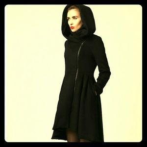 Heavy tailored black wool winter coat