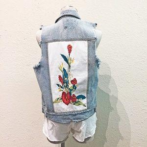 Somedays Lovin Destructed Vest with Floral Graphic