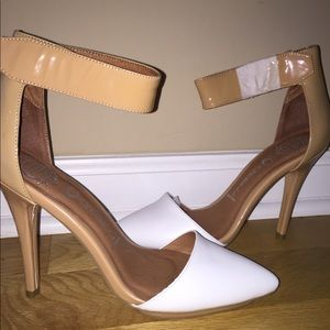 Jeffrey Campbell Nude and White Pumps