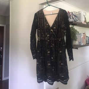 Black lace and lines holiday dress
