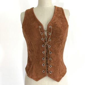 Vintage faux suede lace up vest size L