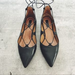 Topshop Black Leather Kingdom Lace Up Flats