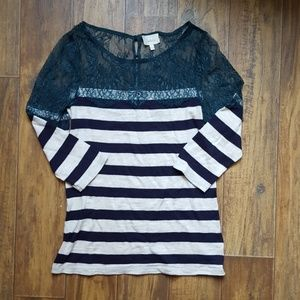 Anthro Deletta Lace and Lines Pullover S