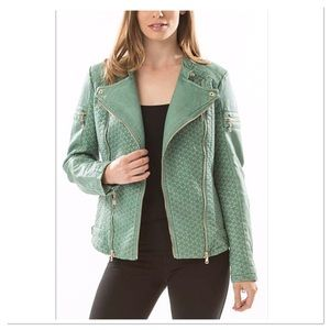 Green Quilted Faux Leather Moto Jacket