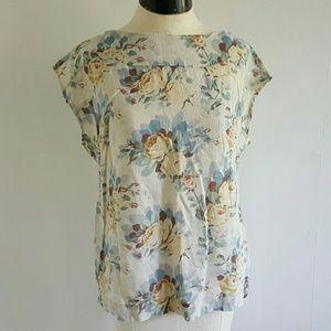ANTHROPOLOGIE {ODILLE} floral linen blend blouse