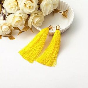 🏈YELLOW THREAD TASSEL EARRINGS- GAME DAY🏈