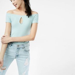 Express One Eleven Off The Shoulder Keyhole Tee