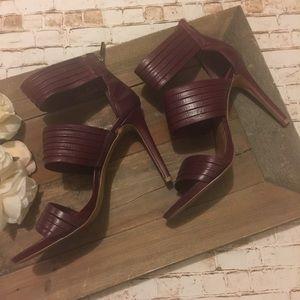 Vince Camuto strappy open toe leather stilettos