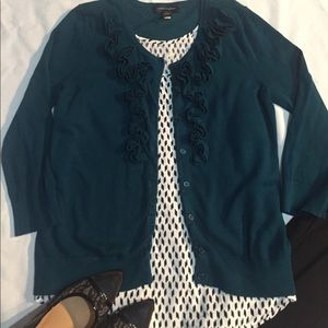 Teal cardigan and black/white tank included