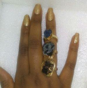 3-set crystal geode style rings